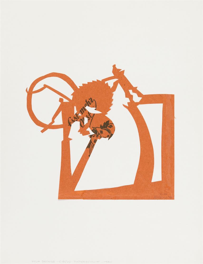 Felix Droese. Mauer / Circus (zu: Esst mehr Obst). 1980. 2 Blatt Papierschnitte. Signiert. Klein 4, 1 bzw. 2.