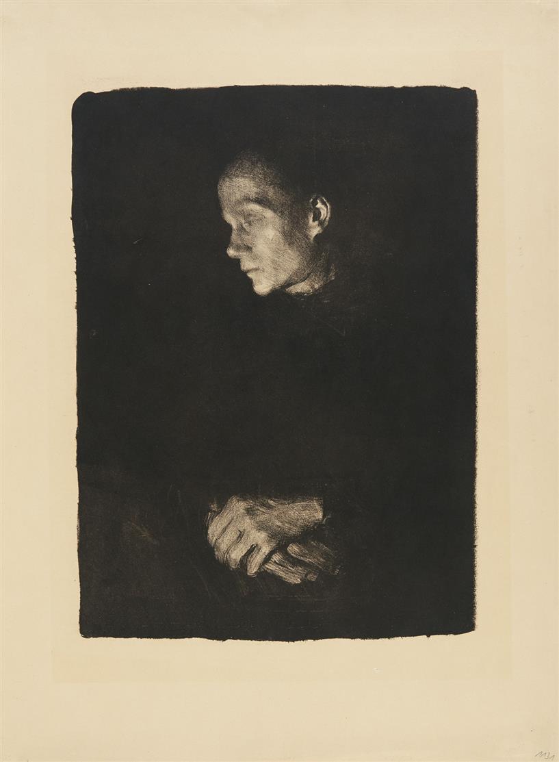 Käthe Kollwitz. Arbeiterfrau im Profil nach links. 1903. Lithographie. v.d.K. 74 III.