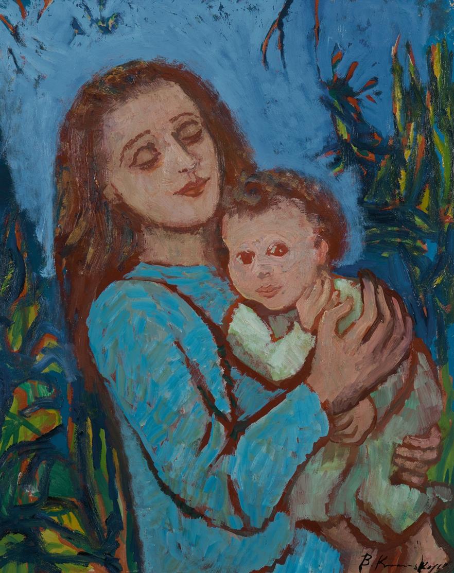 Bruno Krauskopf. Mutter mit Kind. Öl auf Hartfaserplatte. Signiert.