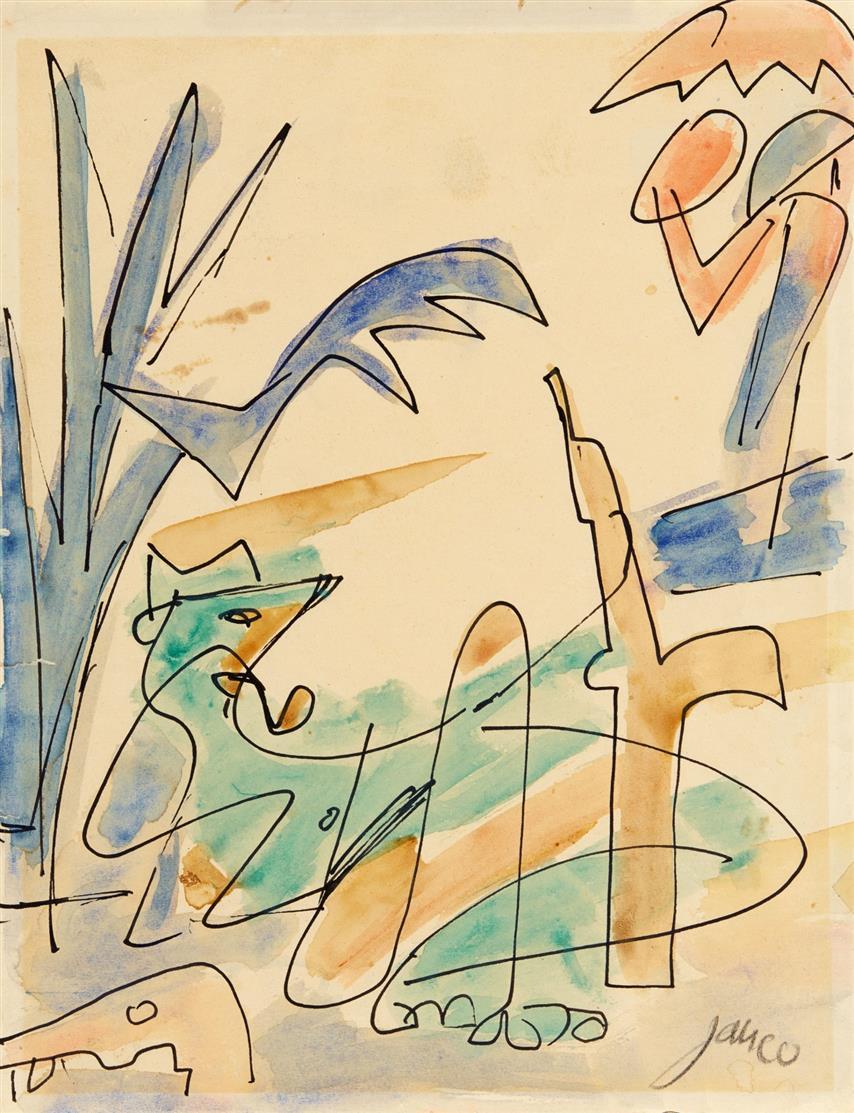 Marcel Janco. Ohne Titel. 40er Jahre. Tusche und Aquarell. Signiert.