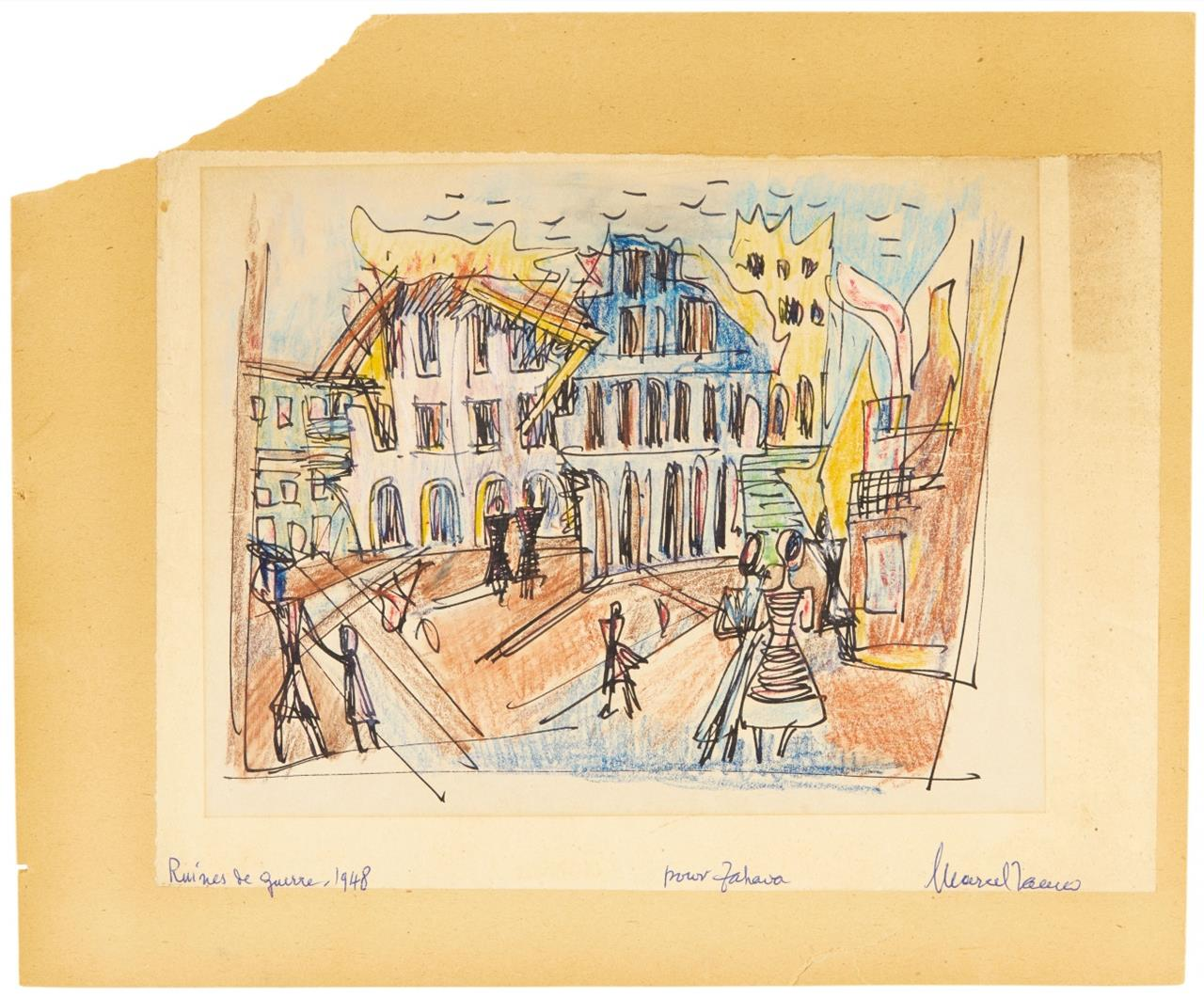 Marcel Janco. Ruines de Guerre. 1948. Tusche und Farbkreide. Signiert, mit Widmung 'pour Zahava'.