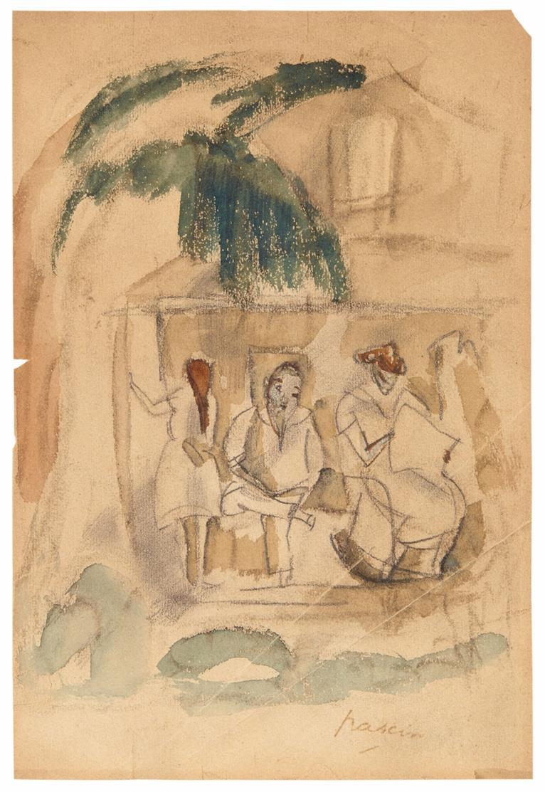 Jules Pascin. Ohne Titel. (Kubanische Szene). Aquarell, Bleistift. Signiert.