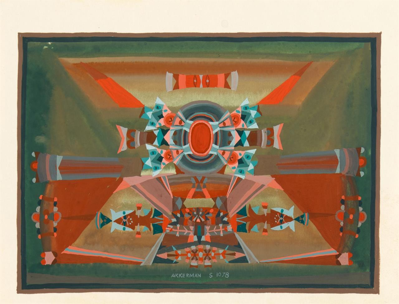 Samuel Akkerman. Ohne Titel (Komposition). 1978. Gouache. Signiert.