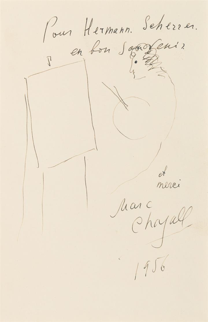 Marc Chagall. Devant le chevalet. 1956. Federzeichnung. Signiert und gewidmet 'pour Hermann Scherrer, en bon souvenir et merci'. Provenienz E. Pillon, Paris.