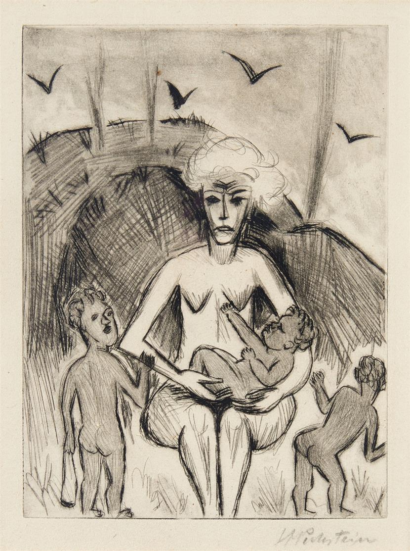 Hermann Max Pechstein. Yali VIII (aus: Willy Seidel, Yali und sein weißes Weib). 1923. Radierung. Signiert. Krüger R 143.