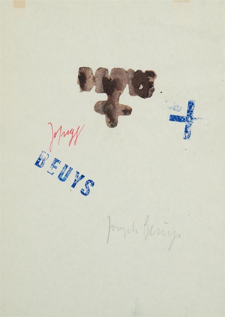 Joseph Beuys. Ohne Titel (Gespräch) 1974. Aquarell, gestempelt. Signiert und bezeichnet. Sch. 141.