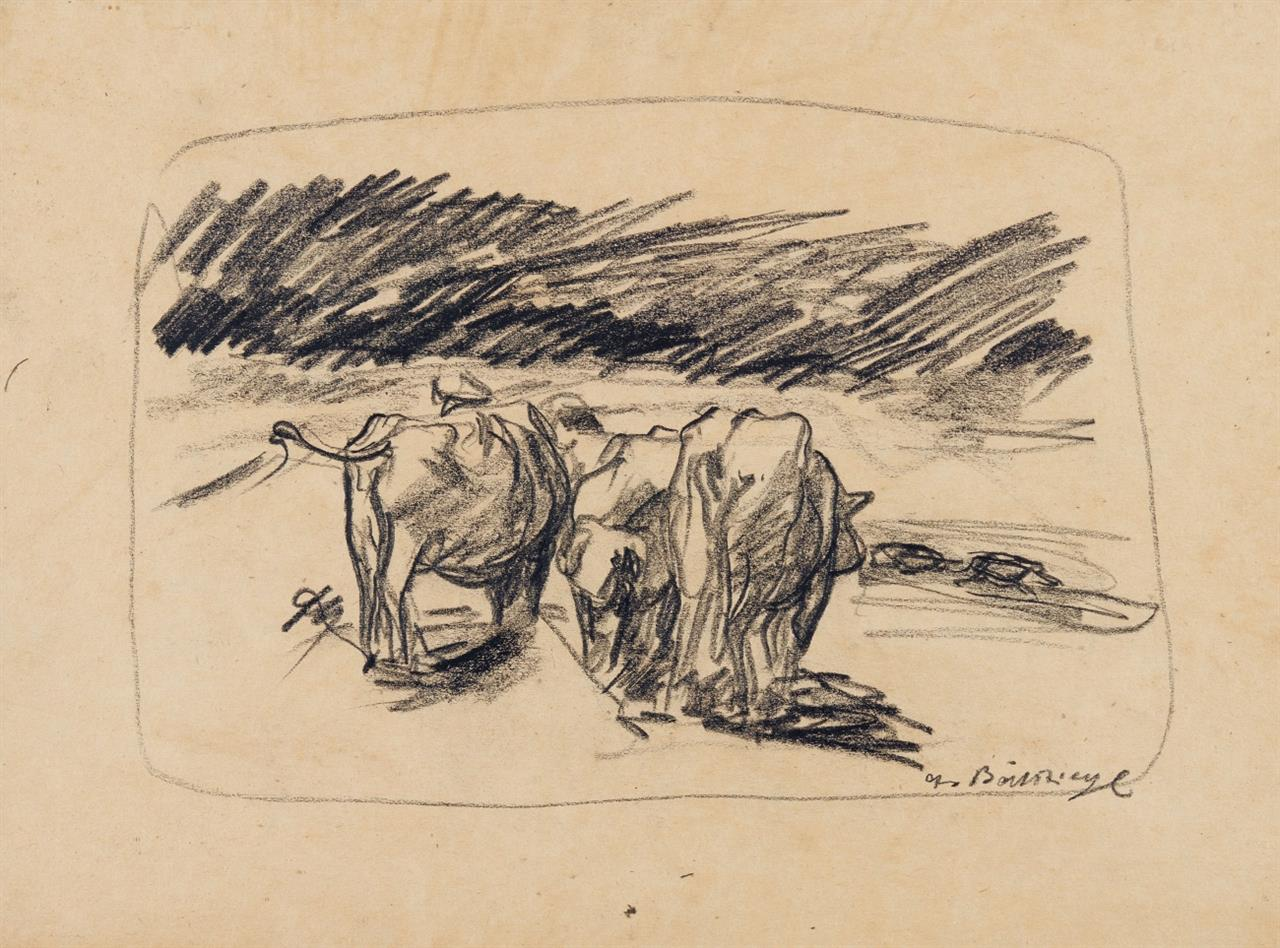 Peter August Böckstiegel. Kühe. Um 1910. Bleistift. Signiert. Wedel Z5.