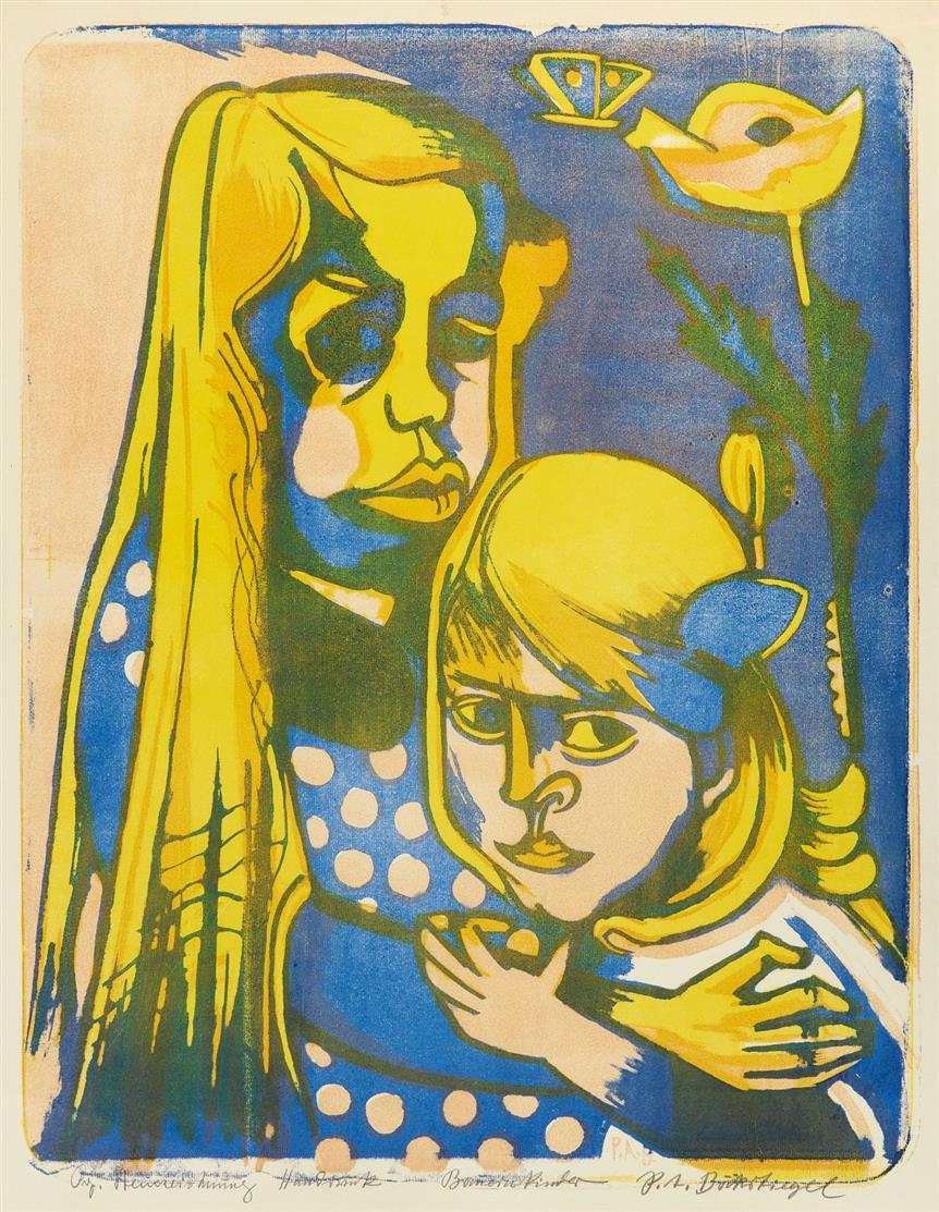 Peter August Böckstiegel. Bauernkinder. 1920. Farblithographie. Signiert. M. 95.