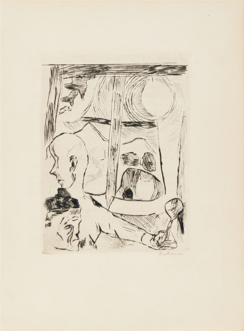Max Beckmann. Die Fürstin: Illustration zu Kapitel 3. 1917. Kaltnadelradierung. Signiert.