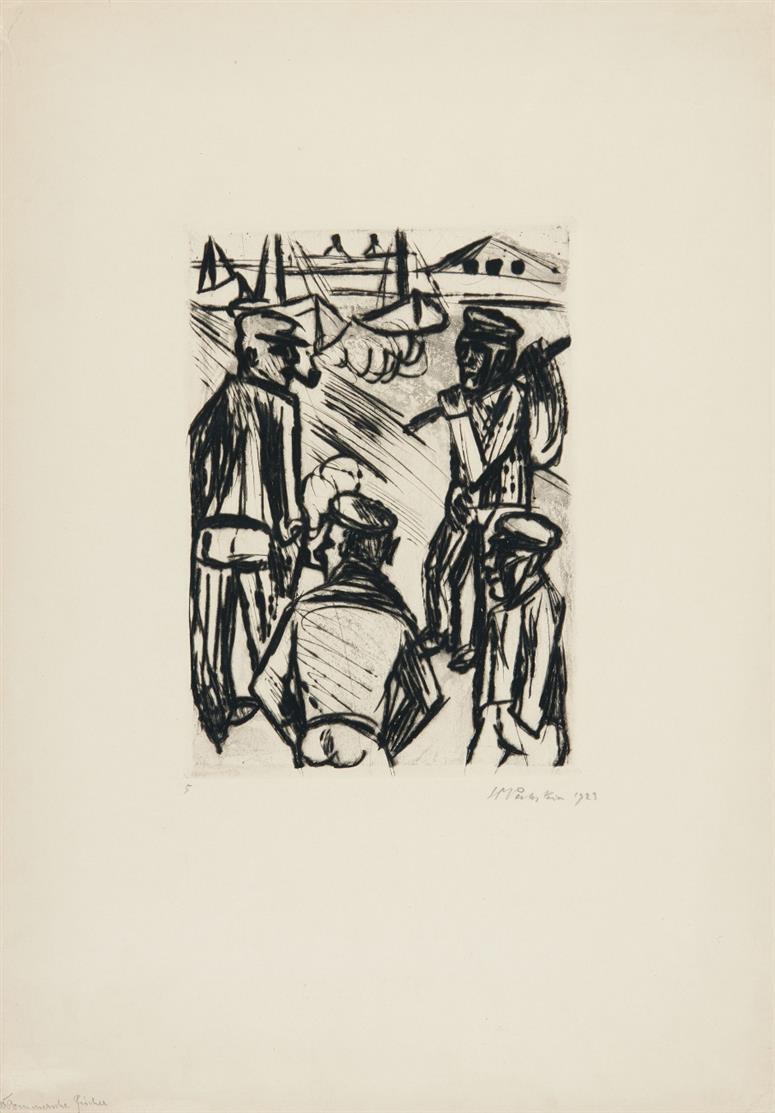 Hermann Max Pechstein. Pommersche Fischer. 1923. Radierung. Signiert.
