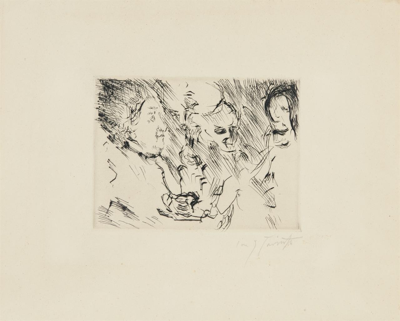 Lovis Corinth. Drei Personen am Tisch bei Lampenschein. 1924. Kaltnadelradierung. Signiert.