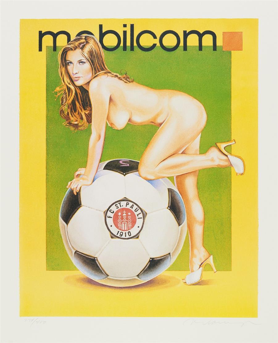 Mel Ramos. Mobilcom - St. Pauli I. / Mobilcom - St. Pauli II 2003. 2 Blatt Farb-Offsetlithographien. Je signiert. Ex. 274/400.