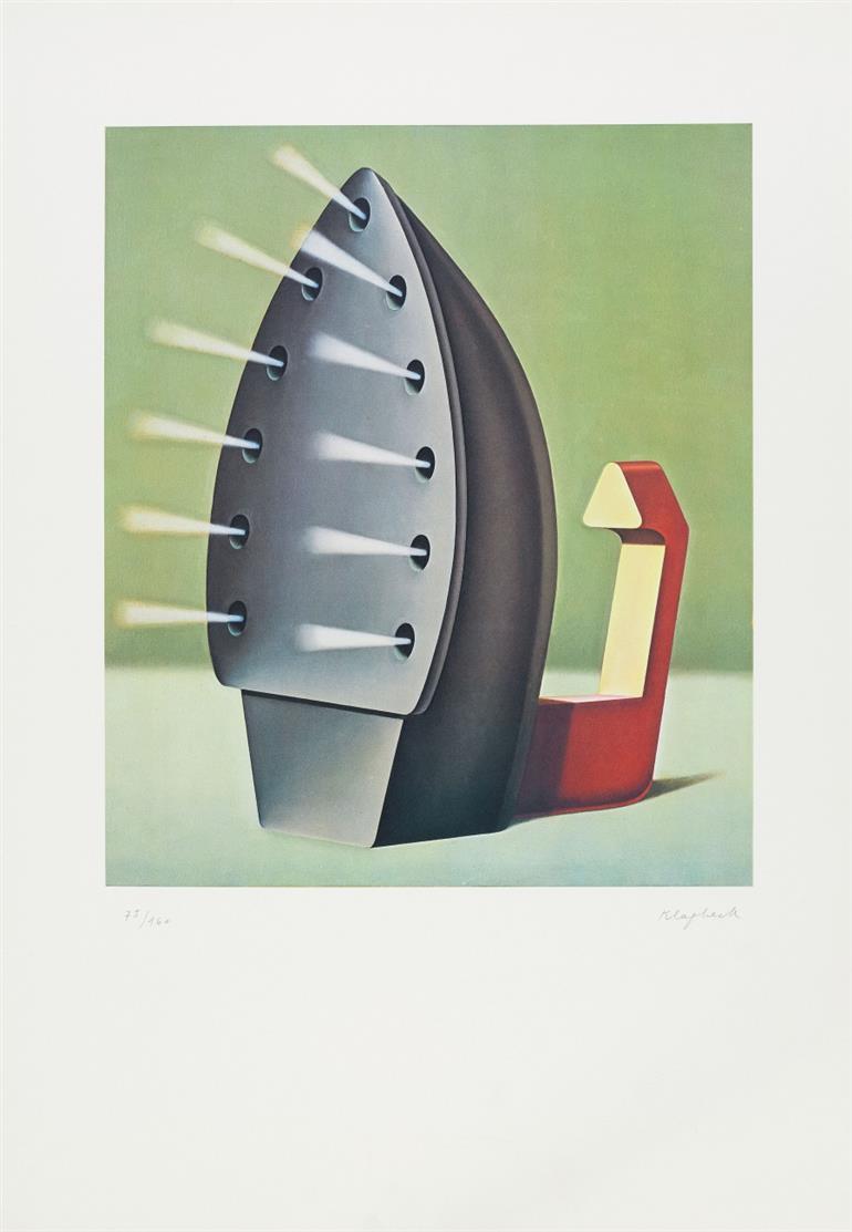 Konrad Klapheck. Bügeleisen (Dragon du foyer). 1980. Farbige Folienlithographie. Signiert. Ex. 75/160.