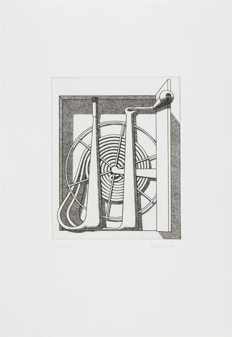 Konrad Klapheck. Reichtum (Schlauch im Kasten). 1980. Radierung. Signiert. Ex. 50/80. Wessolowski 31 C.