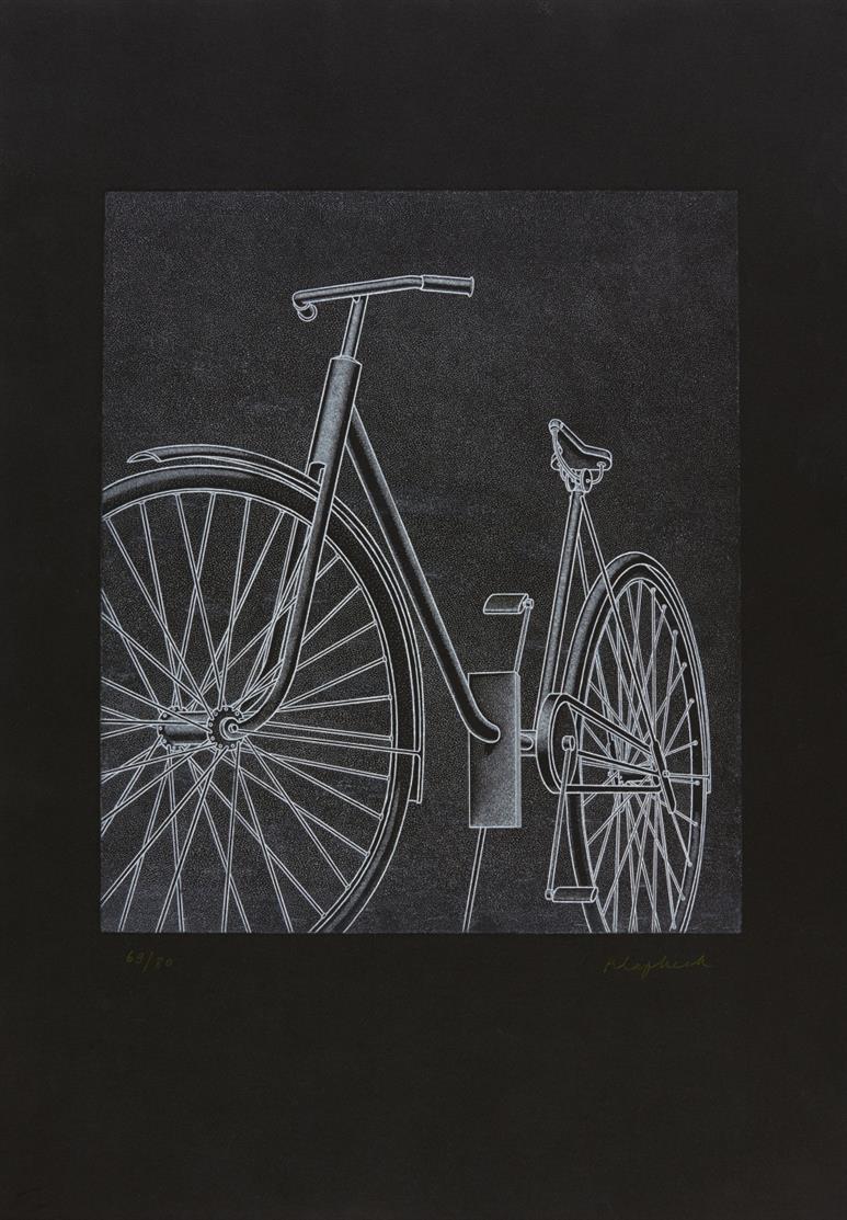 Konrad Klapheck. Schicksal (Fahrrad II). 1981. Radierung. Signiert. Ex. 69/80. Wessolowski 34 D.