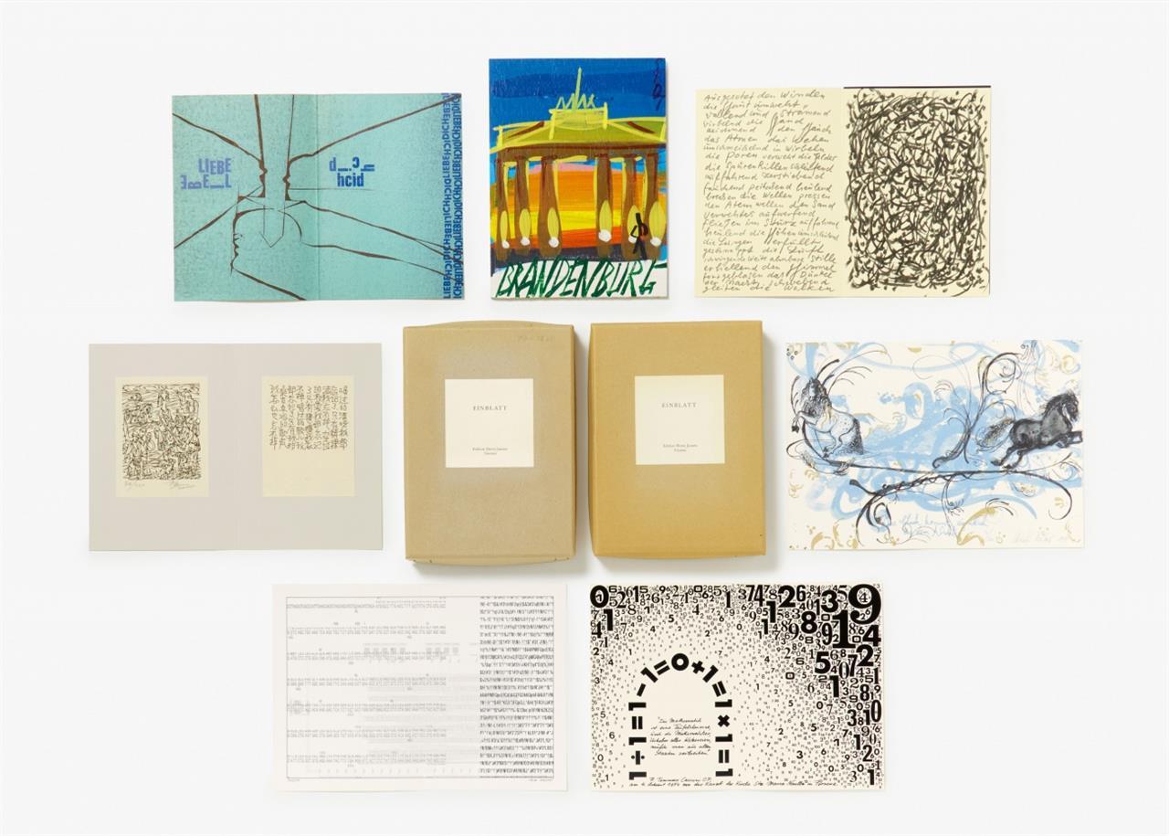 Einblatt. Ed. Horst Jansen, Viersen, 1995 - 2010. Sammlung von 33 Blatt + 1 Holztafeln in 2 Pappkartons. Signiert.