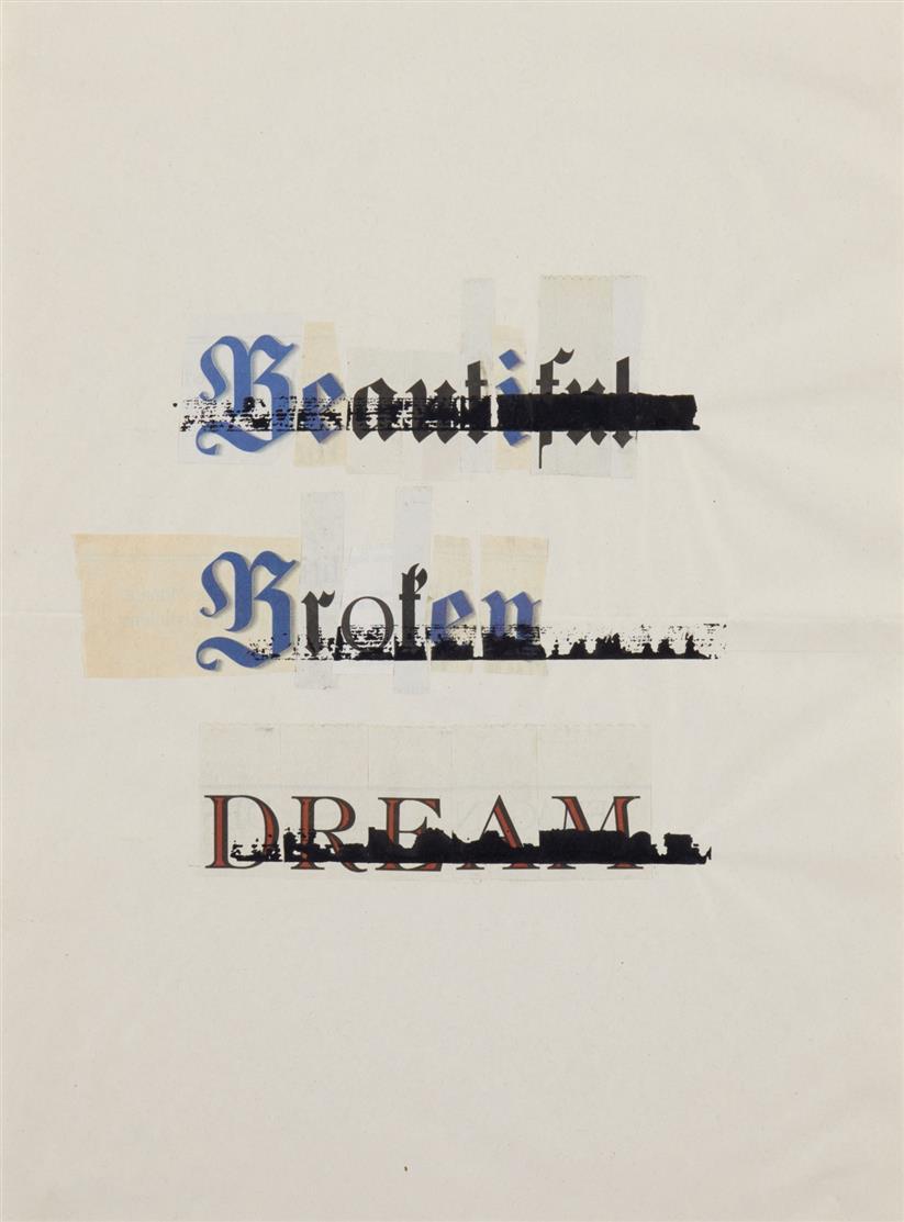 Stef Heidhues. Ohne Titel (aus der Serie: Neither either nor or). 2011. 2 Blatt, Collage mit Zeitungspapier und Tusche. + Beiliegend: 2 Zertifikate, signiert.