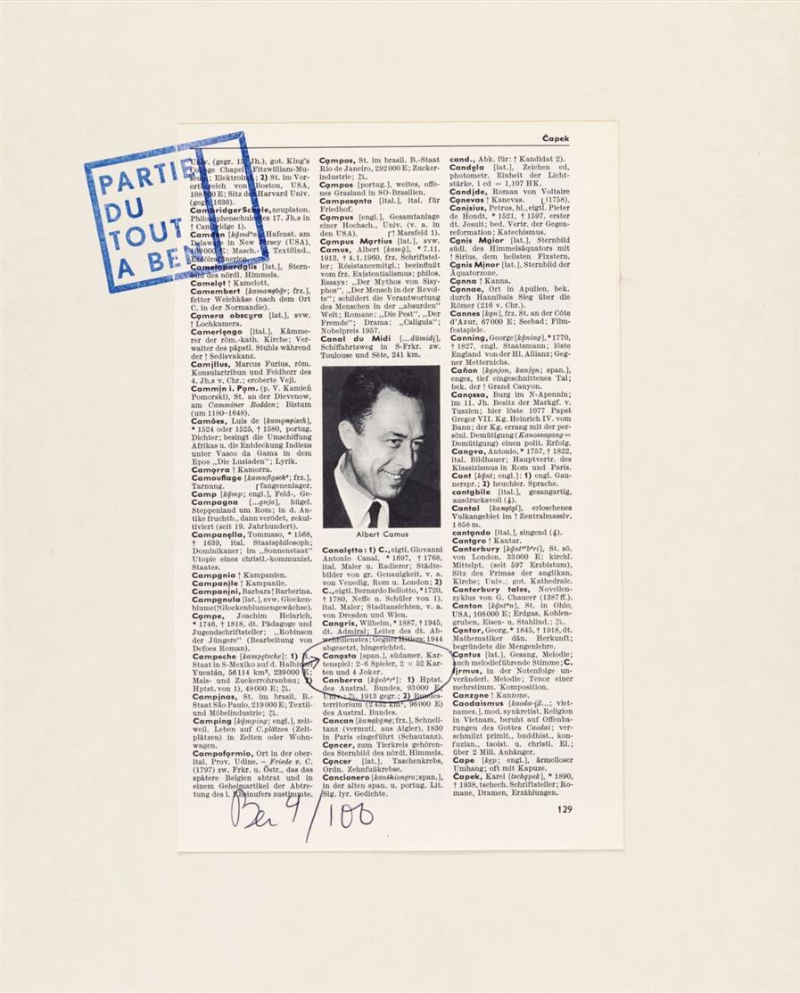 Edition Hundertmark. 100. Kartons. 3 Blatt von Ben Vautier, Milan Knizak und Joe Jones. Jeweils signiert. Ex. 4/100 (2x) bzw. A.P. 24/50.
