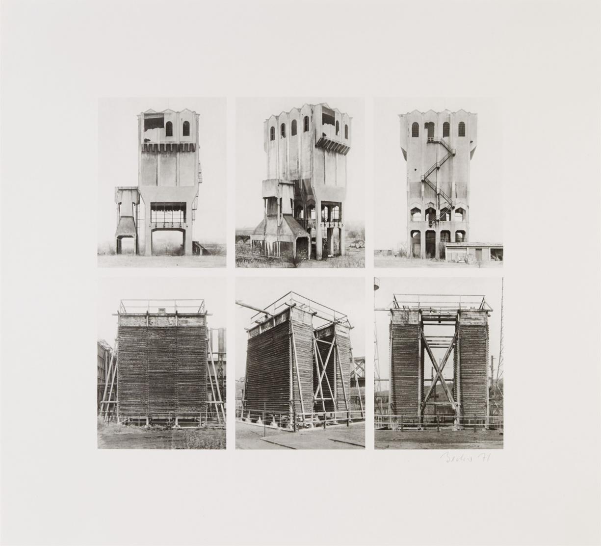 Bernd u. Hilla Becher. Silo und Kühlturm / Strommasten und Hochöfen / Fördertürme. 1971. 3 Lichtdrucke. Je signiert.