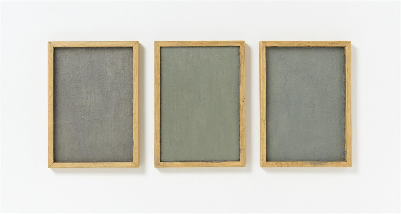 Winfried Virnich. Intervall. 1989. 3-teilig, Holz, Ölfarbe. Signiert. Ex. 1 von 9 Unikaten.