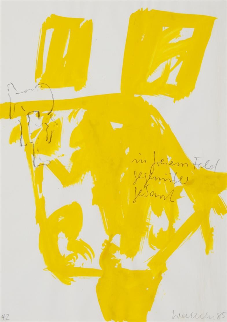 Franz Erhard Walther. Ohne Titel (im freien Feld ...). 1985. Gouache und Bleistift. Signiert.