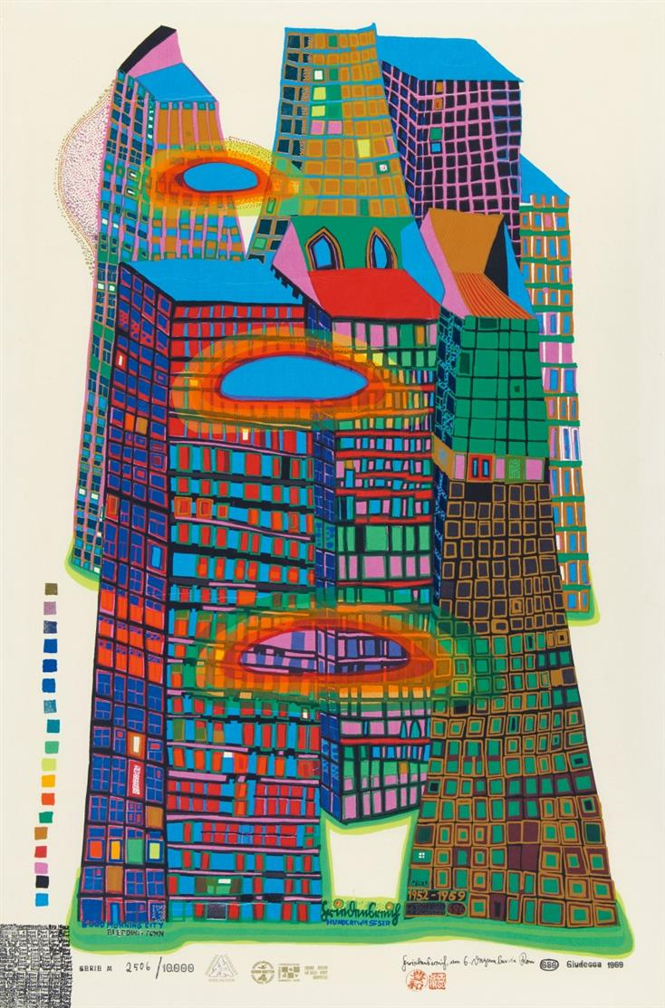 Friedensreich Hundertwasser. Good Morning City. Farbserigraphie. Signiert. Ex. 2506/10000. K. 41.
