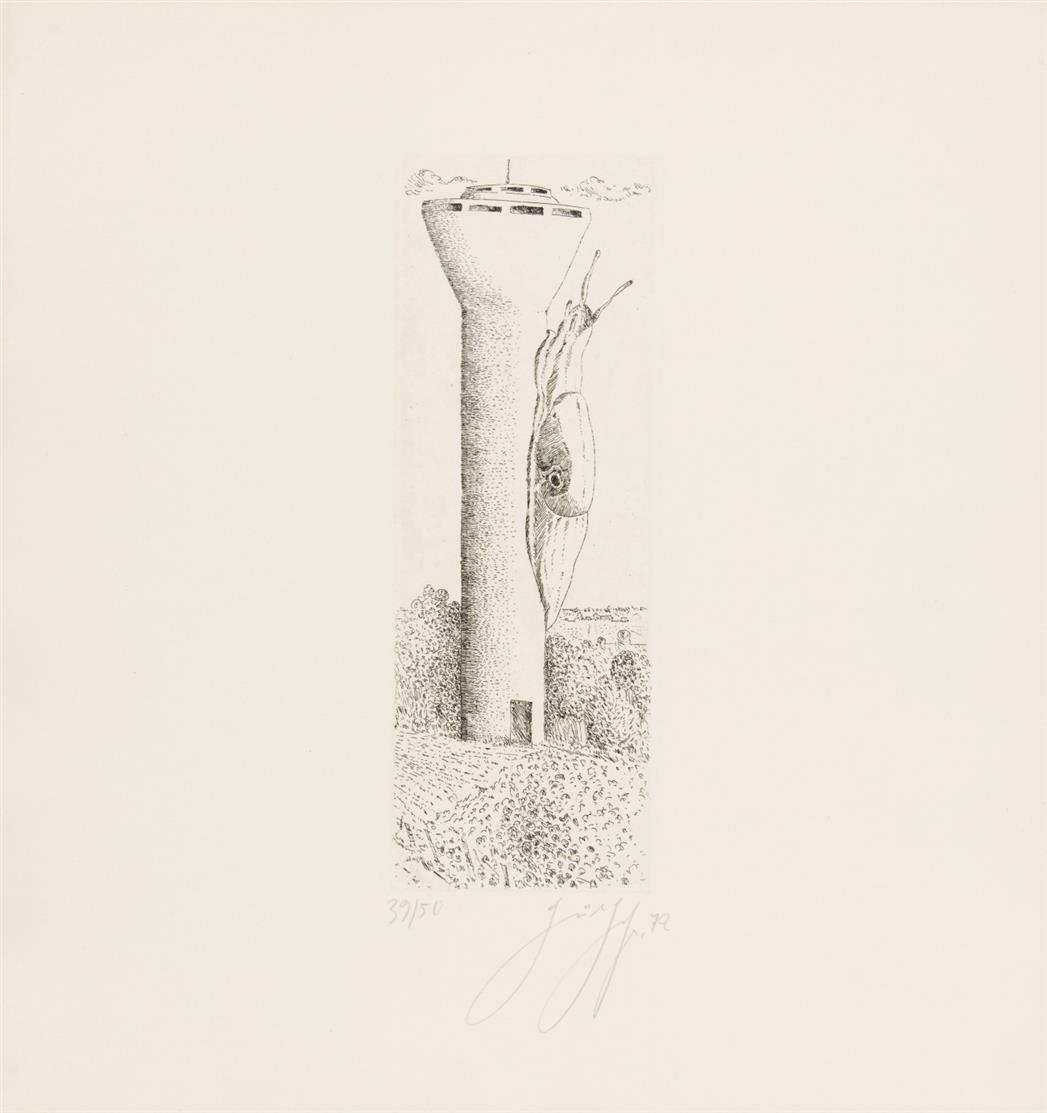 Günter Grass. Die Schnecken. 1972. Mappe mit 9 Radierungen. Signiert. Ex. 39/50.
