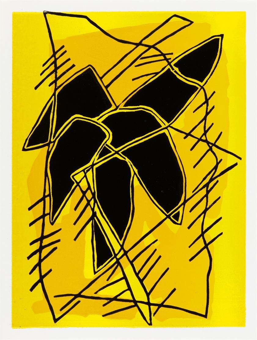 Pidder Auberger. Ohne Titel (Werknummer 105, 103, 109, 107). 1990. 4 Blatt Farbhochdrucke. Je signiert. Griffelkunst 260 C4-7.