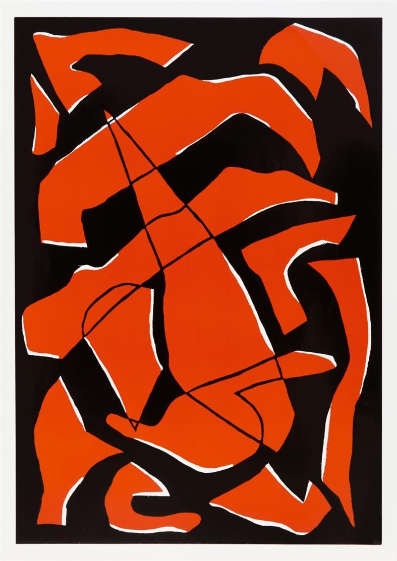 Pidder Auberger. Ohne Titel (Werknummer 104,108, 106). 1990. 3 Blatt Farbhochdrucke. Signiert. Griffelkunst 260 C1-3.
