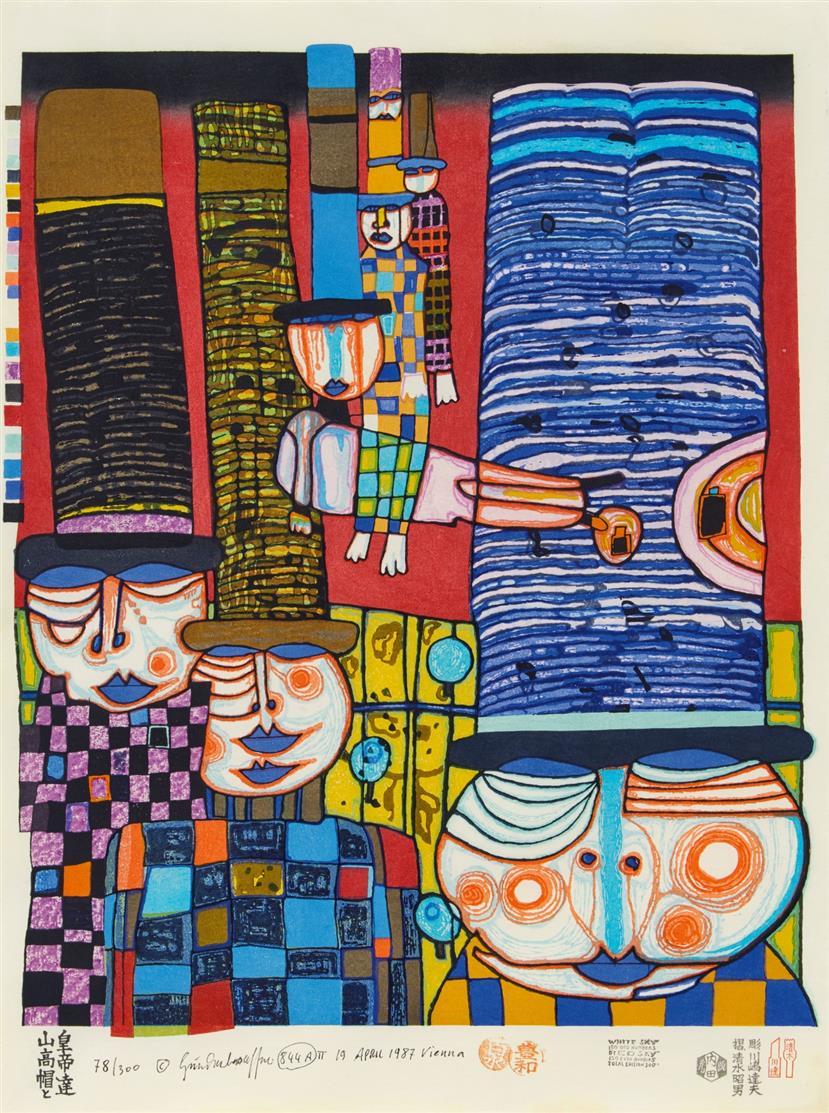 Friedensreich Hundertwasser. Die Hüte tragen die japanischen Kaiser. 1985. Farbholzschnitt. Sgniert. Ex. 78/300. Koschatzky 89.