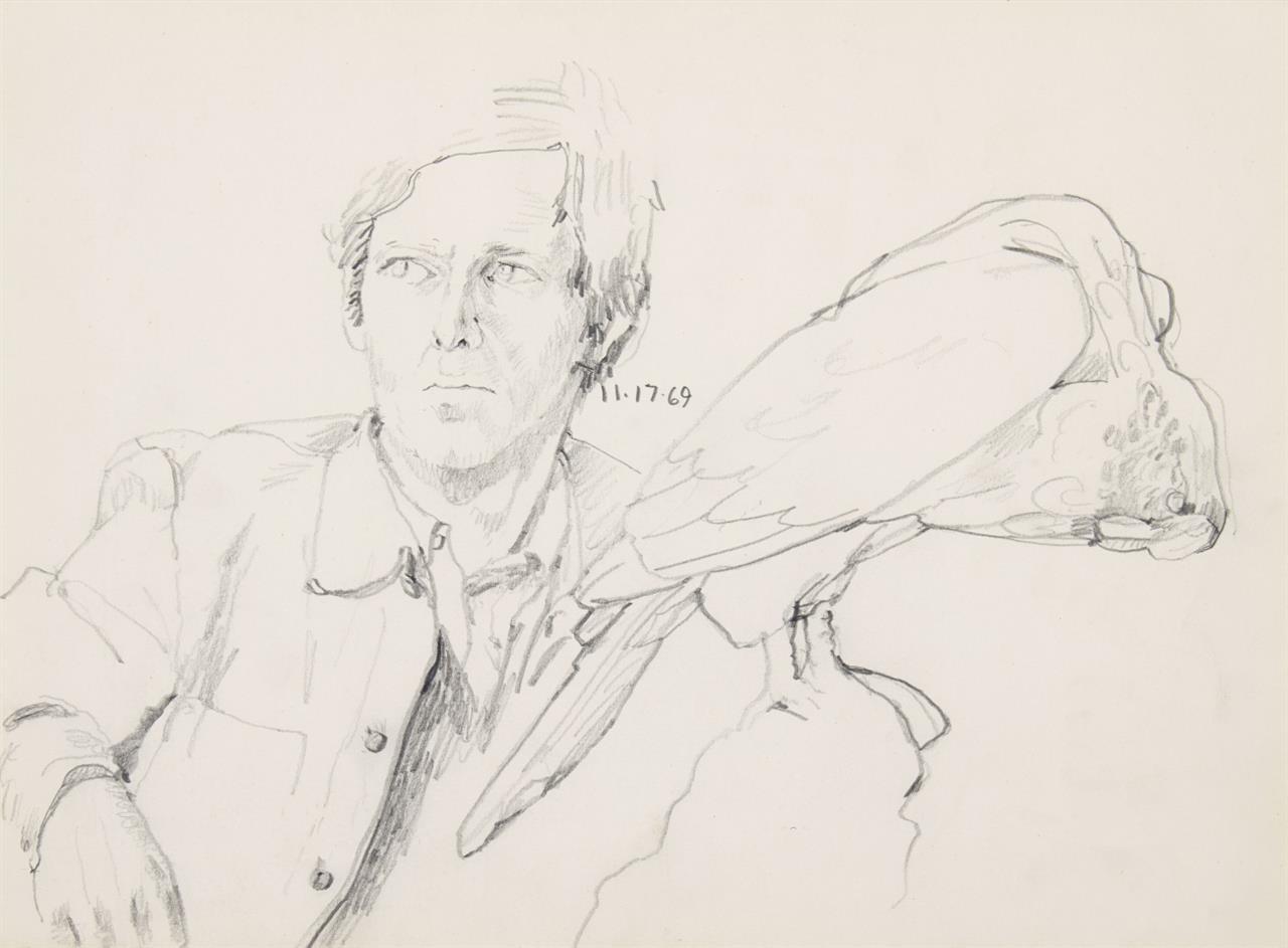 Paul Thek. Ohne Titel (Porträt Franz Deckwitz und Studie eines Vogels). 1969. Bleistift auf Papier.