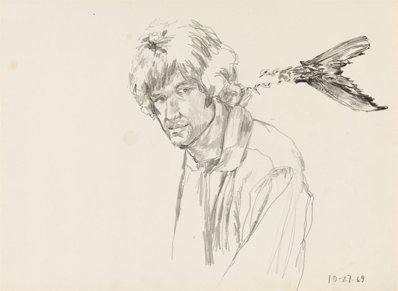 Paul Thek. Ohne Titel (Porträt Edwin Klein). 1969. Bleistift auf Papier.