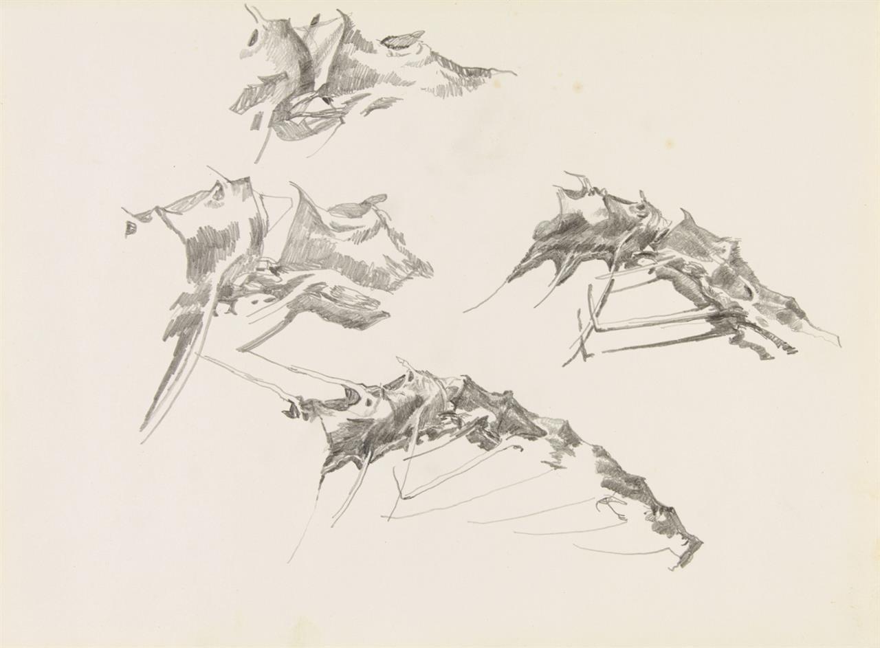 Paul Thek. Ohne Titel (Vier Skizzen). Bleistift auf Papier.