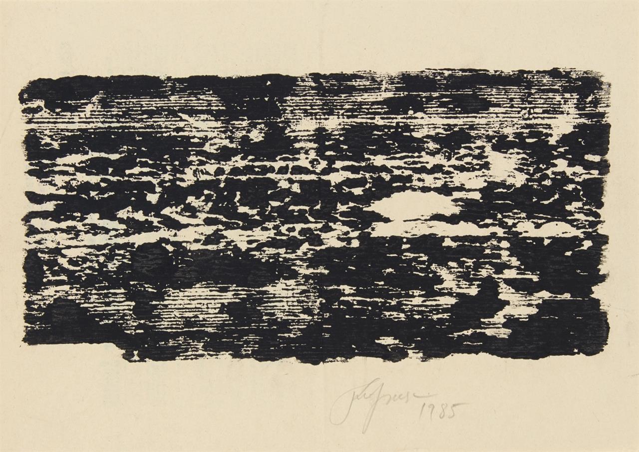 Felix Droese. Ohne Titel (Brett). 1985. Holzschnitt auf Amtsblatt. Signiert.