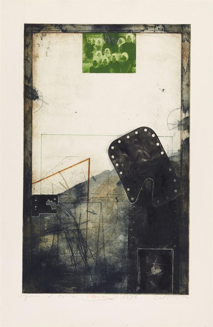 Karl Fred Dahmen. Ohne Titel (Unikum). 1972. Farbaquatintaradierung und Prägedruck, überarbeitet. Signiert. Ex. E.A.