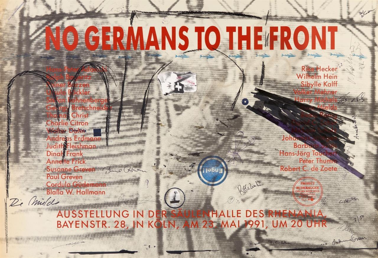 H.-P. Adamski u.a. No Germans to the Front. 1991. 2 überarbeitete Plakate. Von den Künstlern signiert. Ex. 3/50, 32/50.