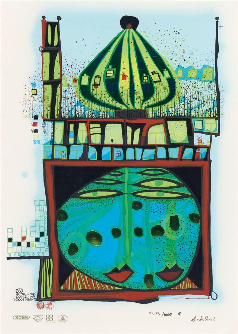 Friedensreich Hundertwasser, 10002 nights Homo Humus. Farblithographie mit Sieb- und Metallprägedruck. Signiert. Ex. 9573/10001. Koschatzky 83.