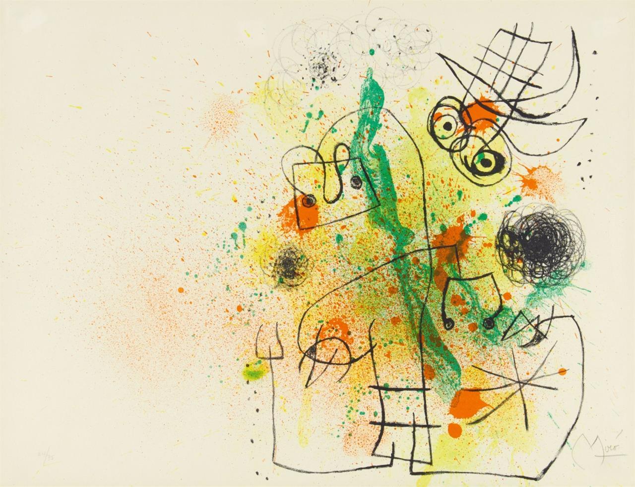 Joan Miró. Femme et Oiseau dans la Tourmente. 1967. Farblithographie. Ex. 24/75. Mourlot 510.
