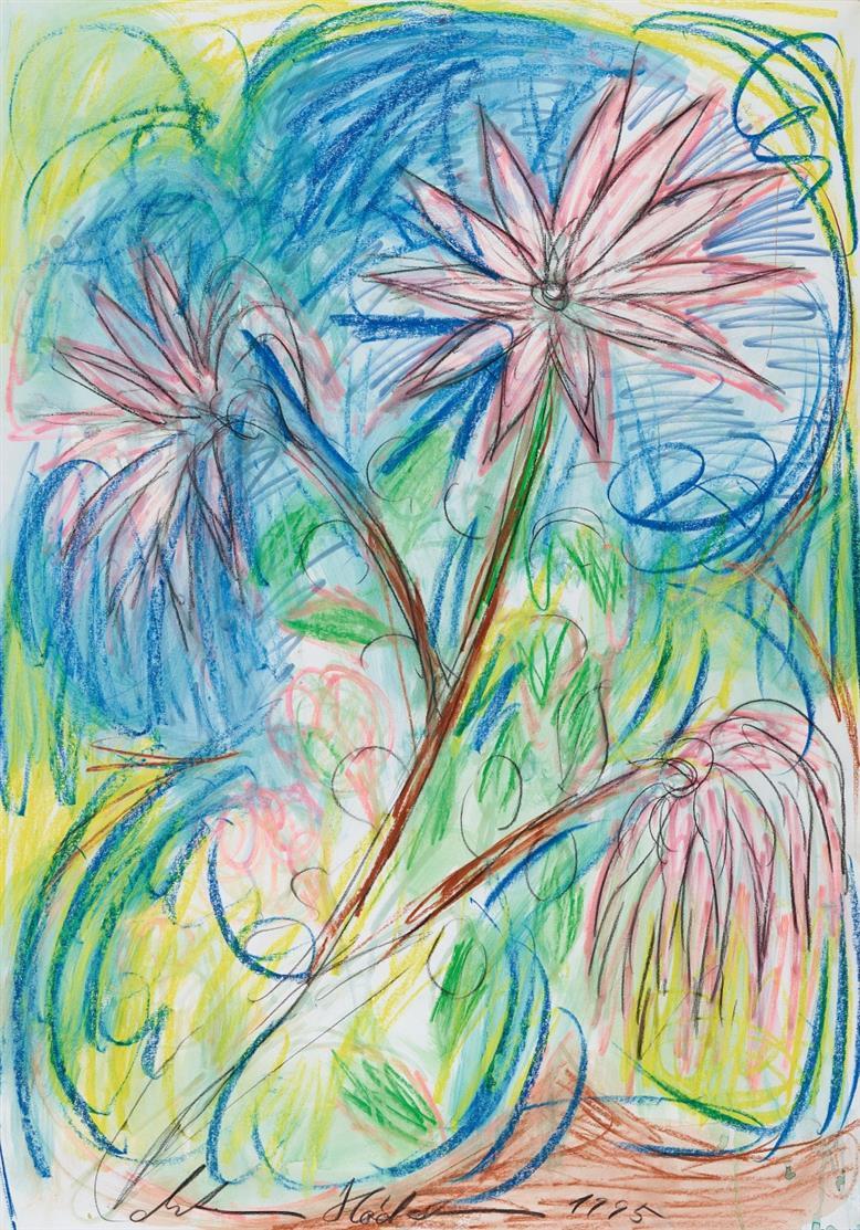 Antonius Höckelmann. Ohne Titel (Blumen). 1995. 3 Blatt Farbkreide und Aquarell. Jeweils signiert.