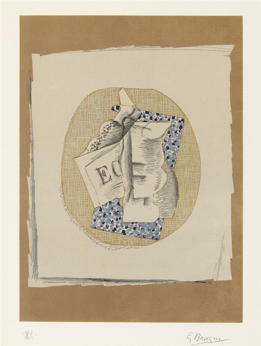 Georges Braque. Verre et Journal. Farblithographie. Signiert. Ex. H.C. Vallier S. 296 (Maeght 1050).