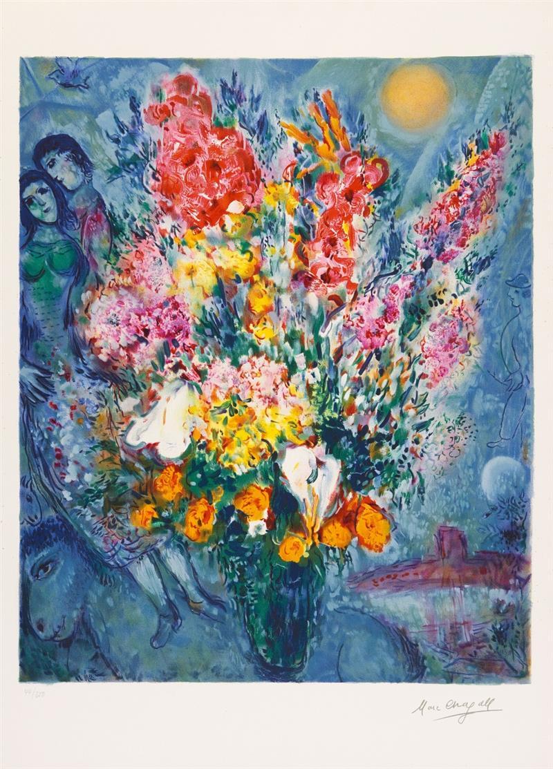 Marc Chagall.  Bouquet de Fleurs. Farblithographie. Signaturstempel. Ex. 44/250.