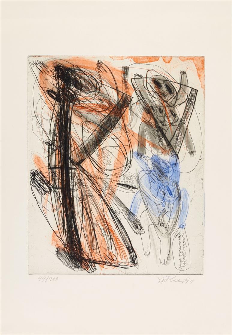 Walter Stöhrer. Cut Up. 1971. Ätzung und Kaltnadel in 3 Farben. Signiert. Ex. 44/100.