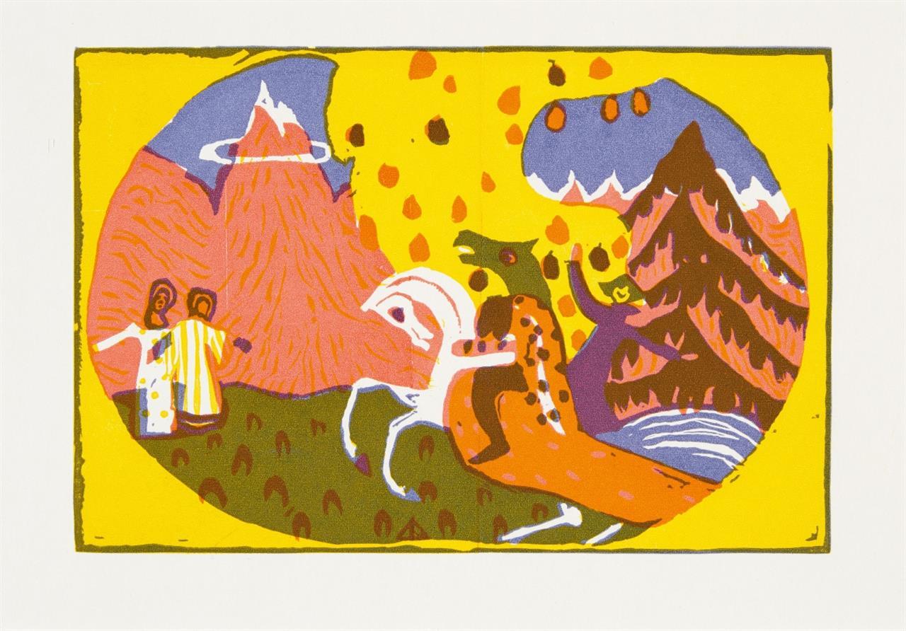 Wassily Kandinsky. Berge 1911 (1966) / Jüngster Tag 1912 (wohl 1974). 2 Blatt, Farbholzschnitt bzw. Holzschnitt. Posthume Neudrucke. Ein Blatt mit Monogrammstempel.