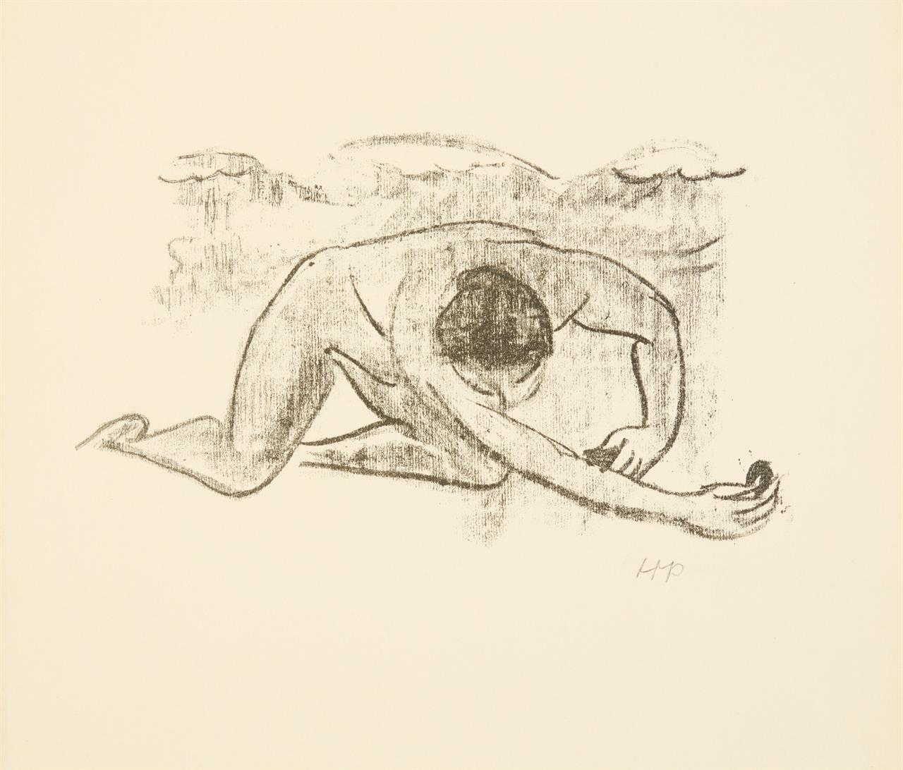 Hermann Max Pechstein. Im Wasser I (aus: Heinrich Lautensack, Paraphrasen). 1917/18. Lithographie. Monogrammiert. Krüger L 231.