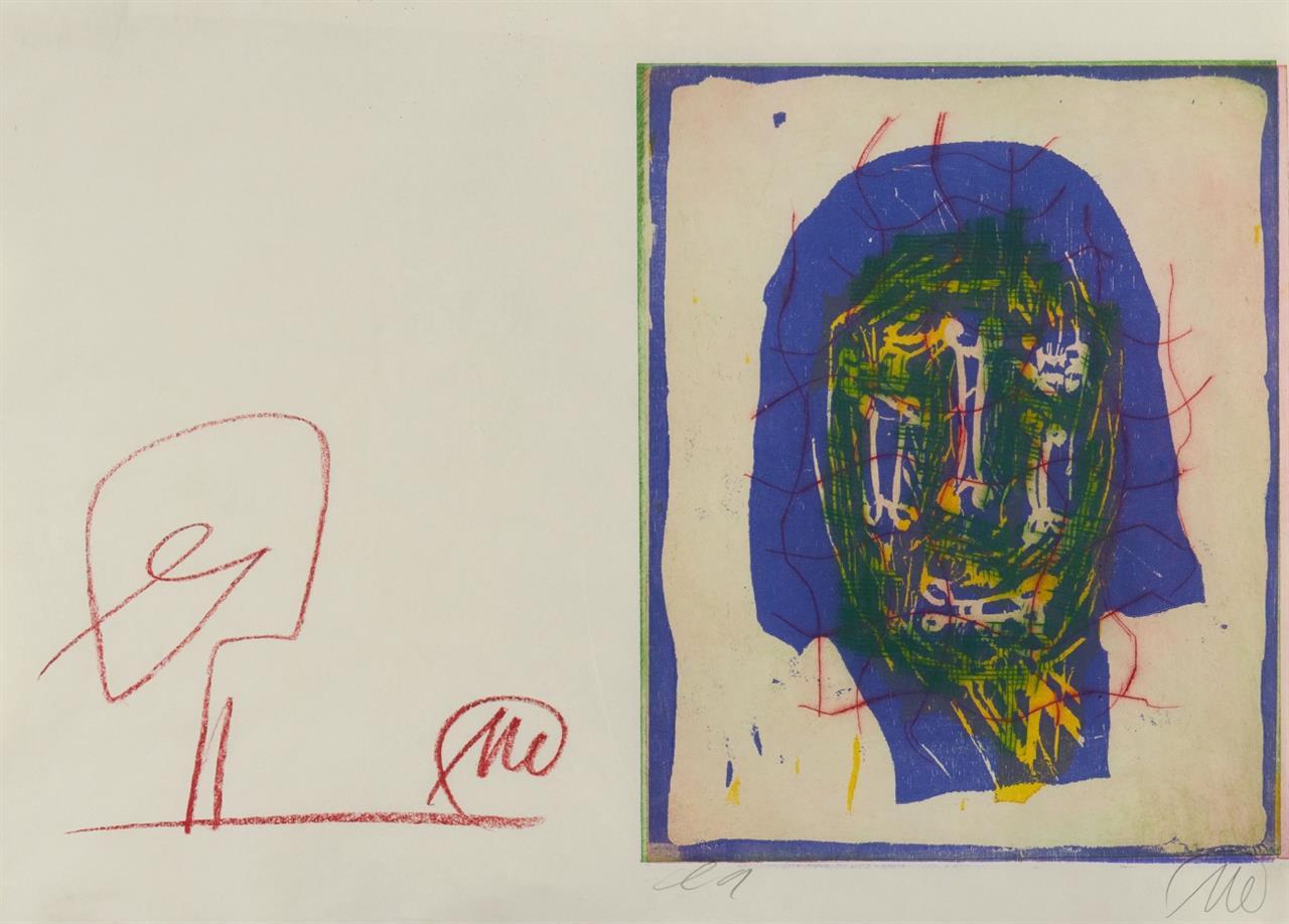 Markus Lüpertz. Ohne Titel (Kopf). Farbkreidezeichnung und Farbradierung über Farblinolschnitt  auf 1 Blatt. Monogrammiert. Ex. e.a.