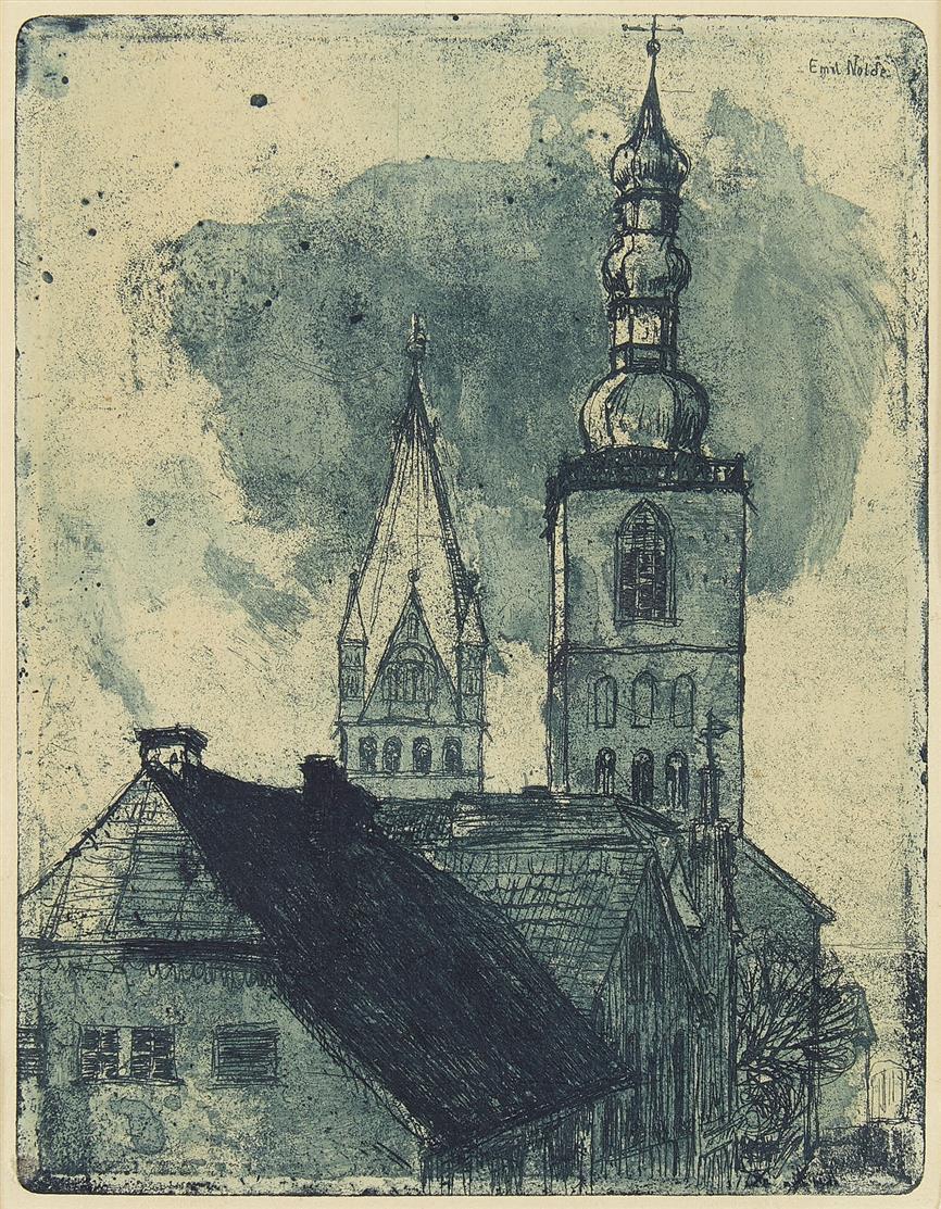 Emil Nolde. Petri- und Patrocli-Turm in Soest. 1906. Radierung. Eines von 1250 Ex. Schiefler/Mosel 47 III.