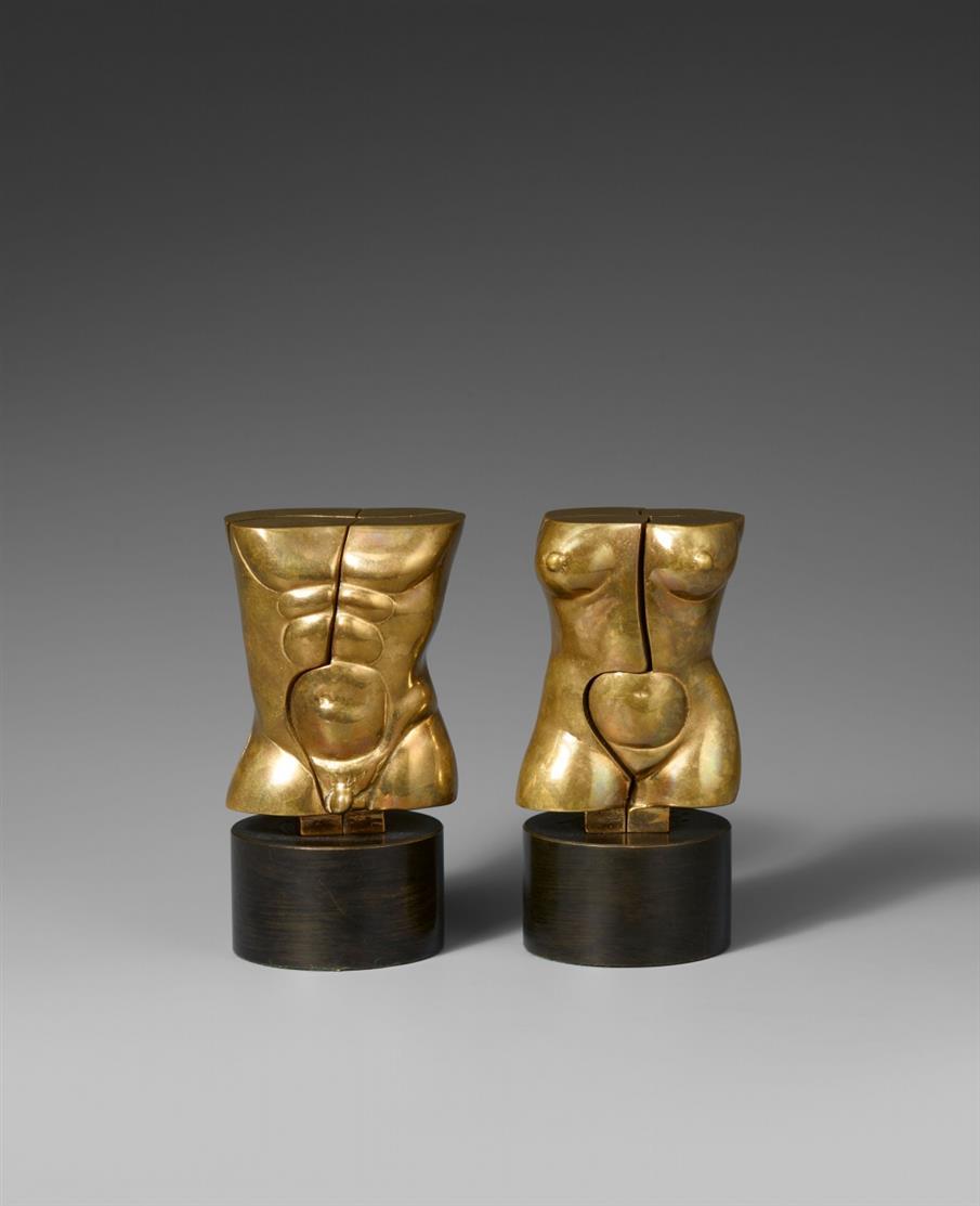 Miguel Berrocal. Otto y Otra. 1987. 2 Skulpturen. Bronze, poliert, auf Sockel. Signiert. H. je 9 cm.