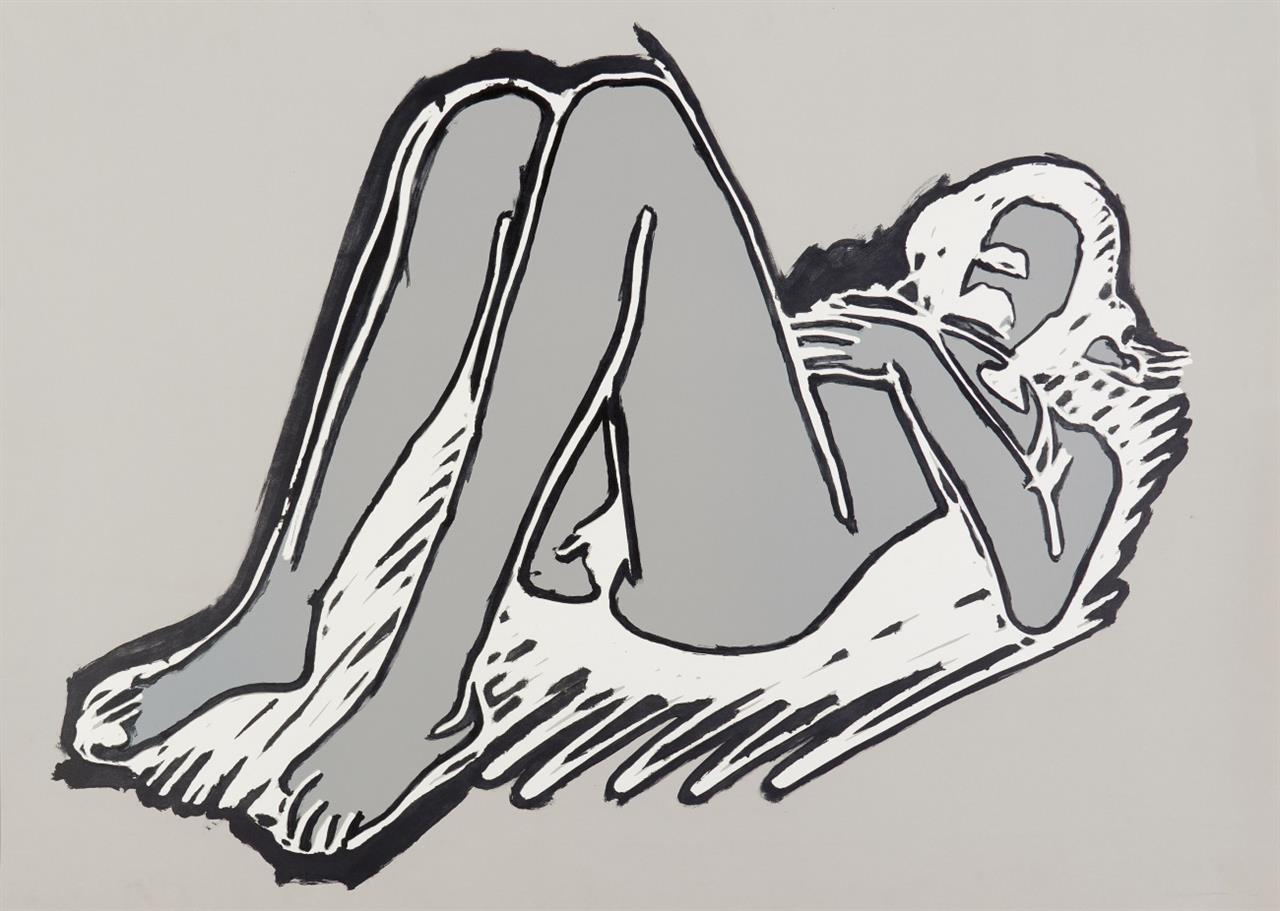 Tom Wesselmann. Monica reclining on back, knees up. 1990. Farblithographie mit Linolschnitt. Signiert. Ex. 71/100.