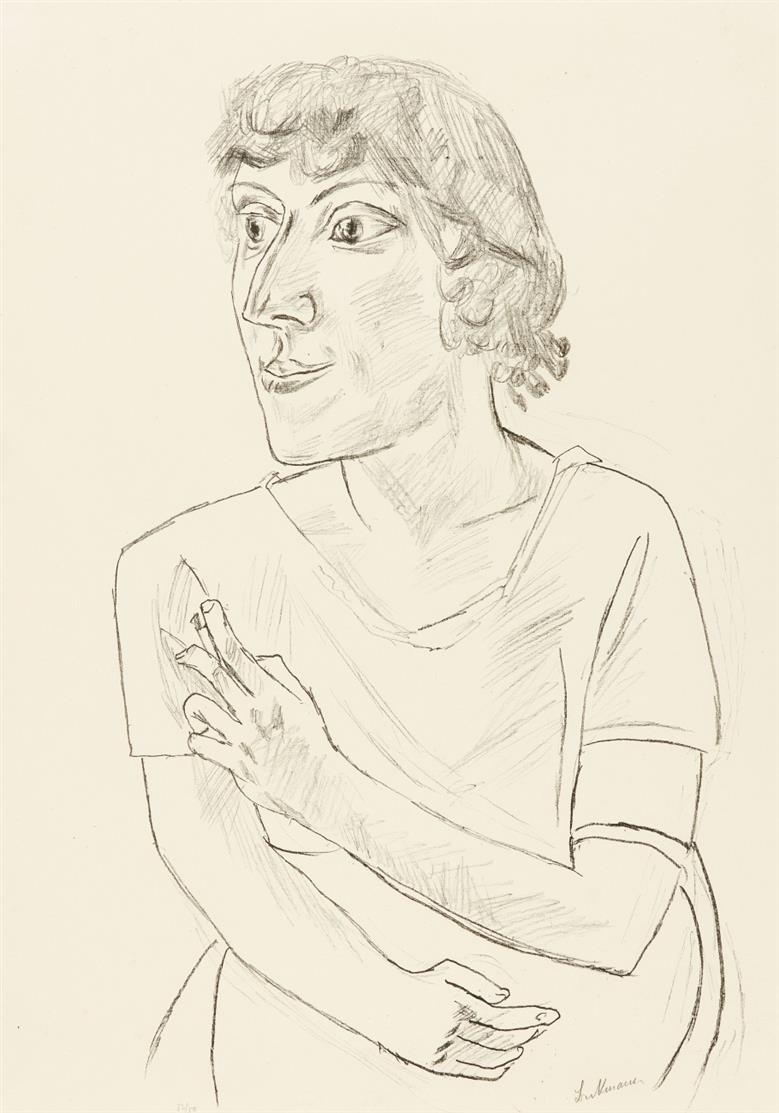 Max Beckmann. Sarika mit Zigarette. 1922. Lithographie. Signiert. Ex. 32/50. Hofmaier 229 B.
