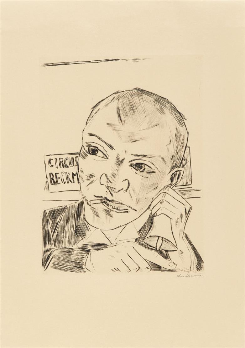 Max Beckmann. Der Ausrufer (Selbstbildnis). 1921. Kaltnadelradierung. Signiert. Eines von 75 Ex. auf diesem Papier. Hofmaier 191 II B.a.